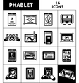Phablet Black White Icons Set vector image vector image