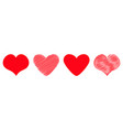 red heart icon set line different shape happy vector image vector image