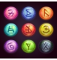 Round colorful buttons with fantastic symbols vector image