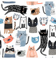 seamless pattern with different funny hand drawn vector image vector image