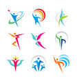 set abstract colorful human character logo vector image
