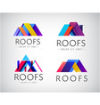 set colorful roof building logos vector image vector image
