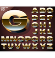 set golden 3d alphabet vector image