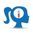 silhouette head girl student laboratory tube vector image vector image