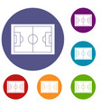 soccer field icons set vector image vector image