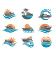 speedboat and yacht icons vector image vector image