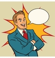 Successful retro businessman on a comic strip vector image vector image