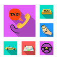 taxi service flat icons in set collection for vector image vector image