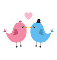 two bird couple pink heart happy valentines day vector image vector image