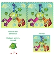 Visual Game - find 10 differences - with answer vector image vector image