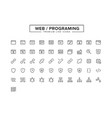 web programing line icon set vector image vector image