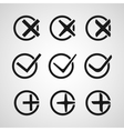 Yes or No Validation button Icons vector image