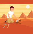 young smiling woman sweeping dirt off old ceramic vector image