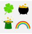 Clover leaf pot with money green hat and rainbow vector image