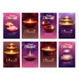 diwali celebration vertical cards vector image