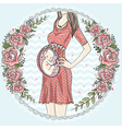 Pregnant woman with cute baby vector image