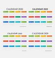 2020 calendar templatecalendar set 12 vector image