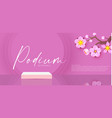 3d pink podium with flowers realistic minimal vector image vector image