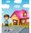 a boy football and house vector image vector image