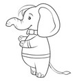 a children coloring bookpage a cute elephant vector image vector image
