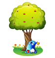 A poisoned blue monster under the tree vector image vector image
