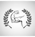 arm muscles sport emblem laurel branch vector image vector image