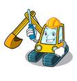 automotive excavator mascot cartoon style vector image vector image