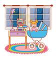 baby inside carrier design vector image