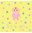 Baby shower card Its a girl Flat design style vector image vector image