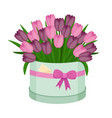 beautiful tulip bouquet in round box with bow vector image