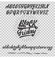 black friday sale handmade font alphabet written vector image vector image