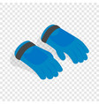 blue winter ski gloves isometric icon vector image