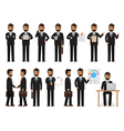 Businessman characters in action vector image vector image