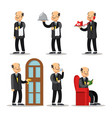 butler cartoon set man with serving tray vector image