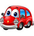 cartoon funny red car vector image