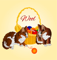 Colors Kittens and a basket with balls of wool vector image