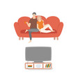 couple romantic evening watching tv movies vector image vector image