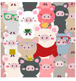 cute baby colorful piggy pig seamless pattern vector image