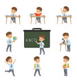 cute schoolboy student in uniform in various vector image vector image