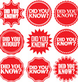 did you know red labeldid you know red sign vector image