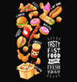 fast food cafe poster vector image vector image