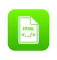 file html icon digital green vector image vector image