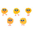 five yellow little chicks vector image