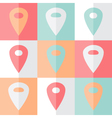 Flat mint pink pin icon set vector image vector image