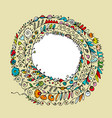 floral spiral ornament hand drawn sketch for your vector image vector image
