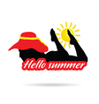 girl with hello summer silhouette vector image vector image