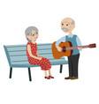 grandpa playing guitar for grandma vector image vector image
