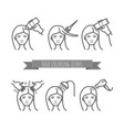 hair care icons coloring treatment styling vector image vector image
