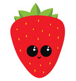 happy strawberry on white background vector image vector image