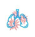 human lungs full dangerous red virus modern vector image